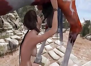 Lara Croft happily fucks a pony outdoors